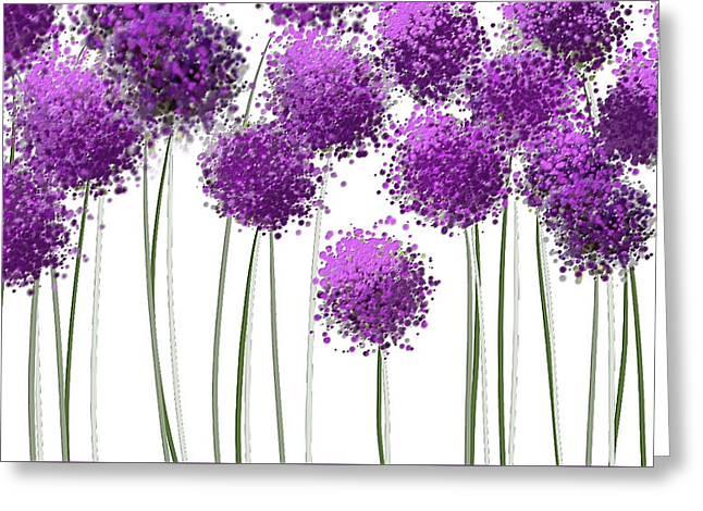 Alliums Flower Art - Purple And Gray Art Greeting Card