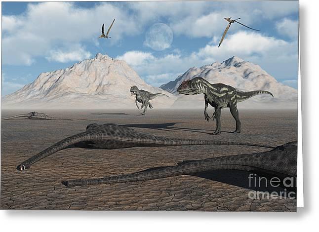 Allosaurus Dinosaurs Approach A Group Greeting Card by Mark Stevenson