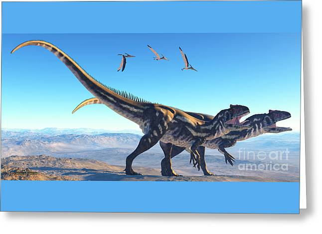 Allosaurus On Mountain Greeting Card by Corey Ford