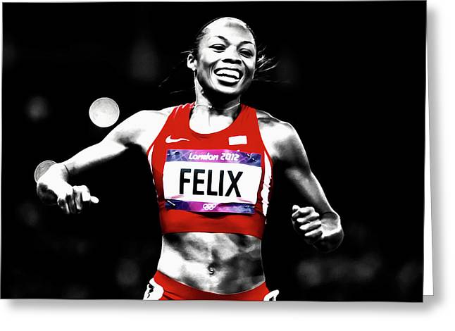 Allyson Felix Victory At Hand Greeting Card