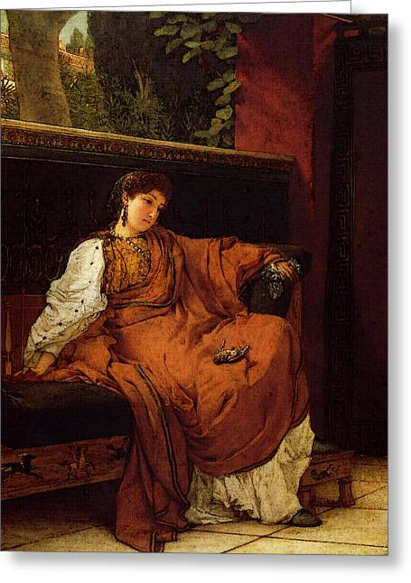 Alma Tadema Lesbia Weeping Over A Sparrow Greeting Card