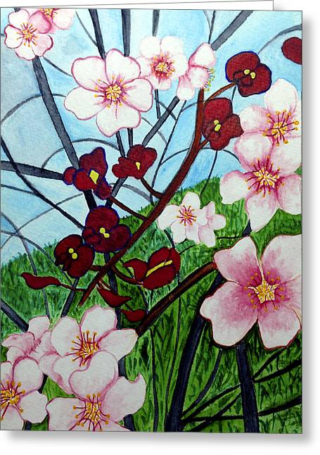 Almond Blossoms Wild Orchids In Ayn Carem Greeting Card by Adam Alalouf