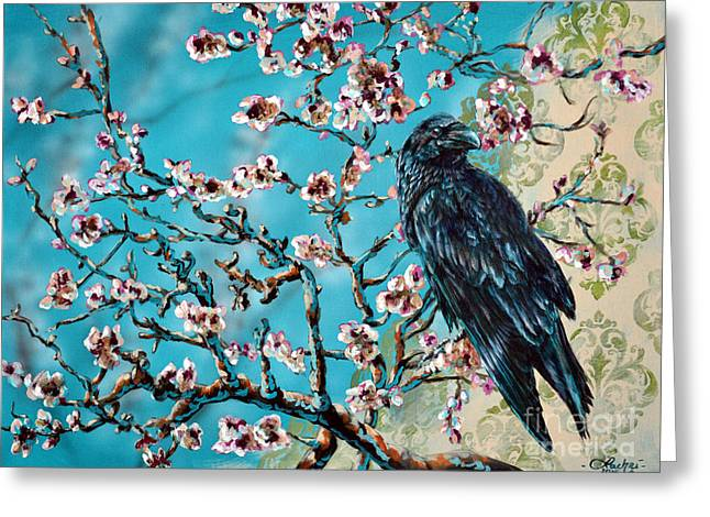 Almond Branch And Raven Greeting Card