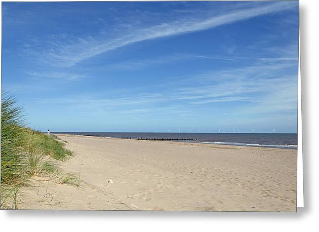 Almost Deserted Beach At Skegness Greeting Card by Rod Johnson