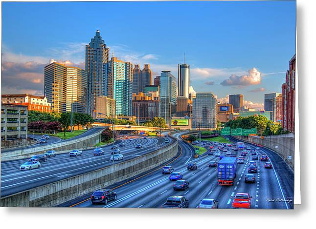 Greeting Card featuring the photograph Almost Sunset Atlanta Downtown Cityscape Art by Reid Callaway