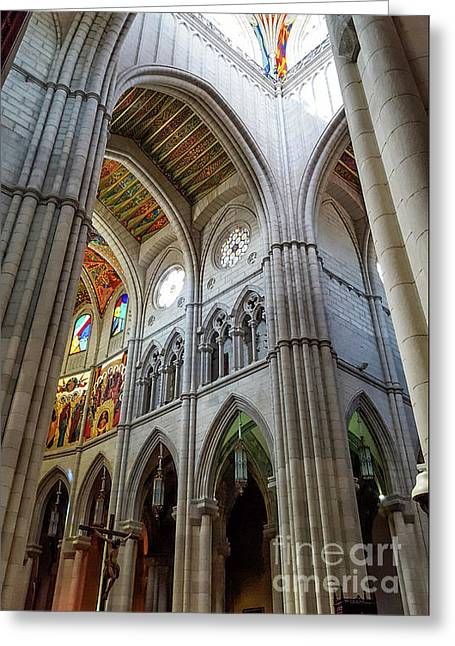 Almudena Cathedral Interior In Madrid Greeting Card