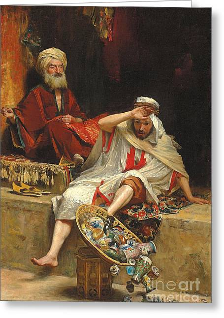 Alnaschar's Fortune, Arabian Nights, 1879 Greeting Card by William Ewart Lockhart