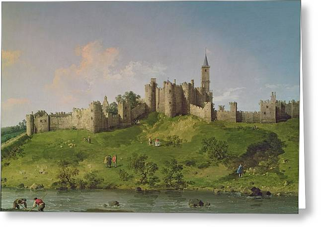 Moat Greeting Cards - Alnwick Castle Greeting Card by Canaletto