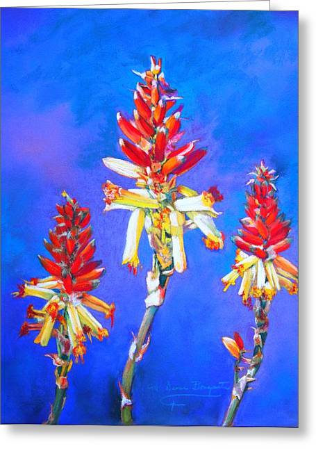 Greeting Card featuring the painting Aloe Flower Spike by M Diane Bonaparte