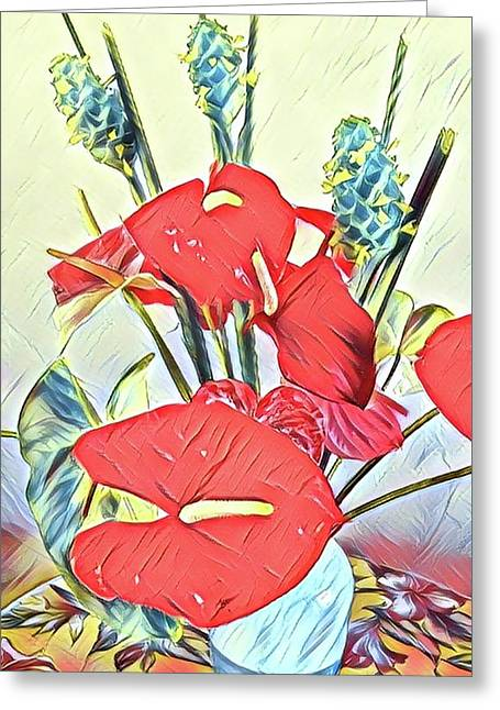 Aloha Bouquet Of The Day - Anthuriums And Green Ginger In Blue Greeting Card
