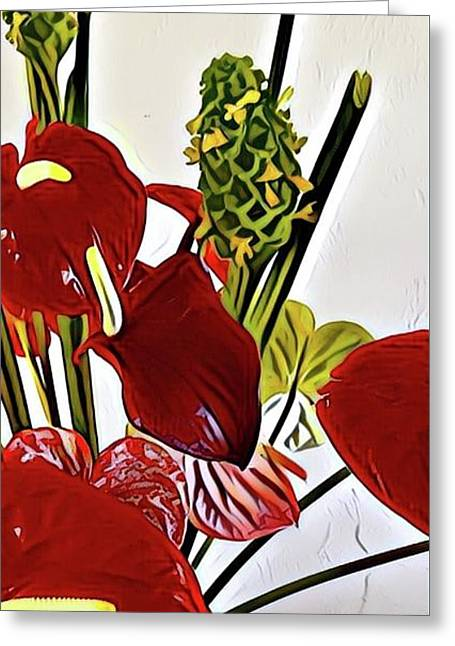 Aloha Bouquet Of The Day - Anthuriums In Darkl Red With Green Ginger - A Portion Greeting Card