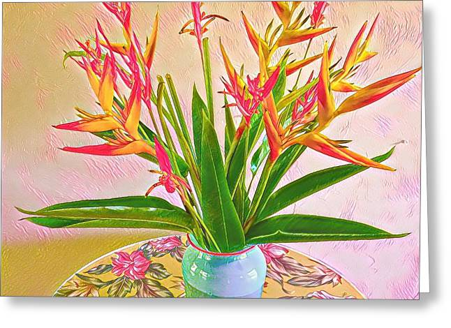 Aloha Bouquet Of The Day Halyconia And Birds In Pink Greeting Card