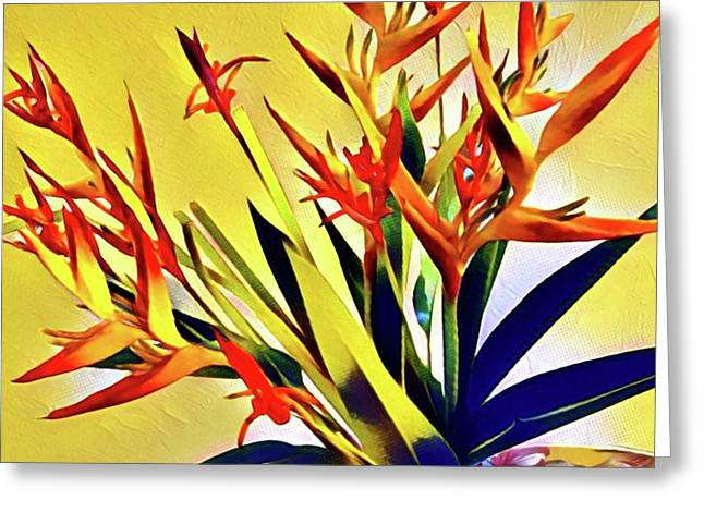 Aloha Bouquet Of The Day - Halyconia Birds In Orange Greeting Card