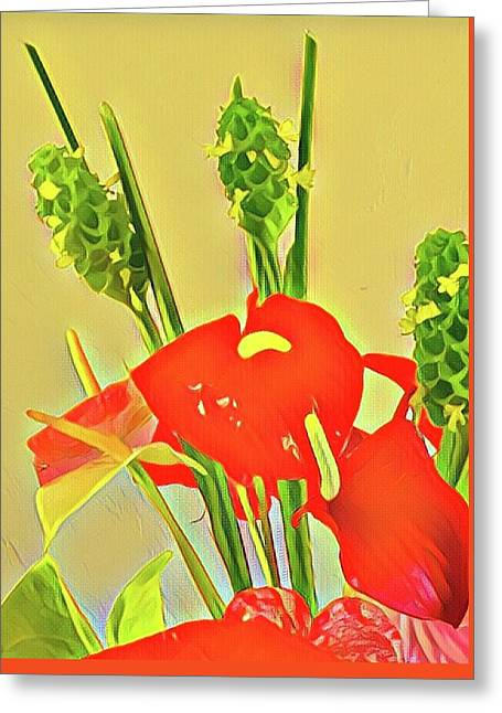 Aloha Bouquet Of The Day -- Red Anthuriums With Green Ginger, A Portion  Greeting Card