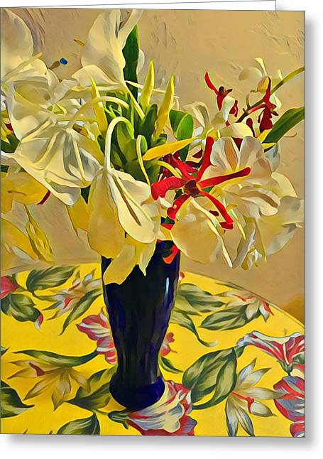 Aloha Bouquet Of The Day - White Gingert With Red Orchids - A New Hue Greeting Card