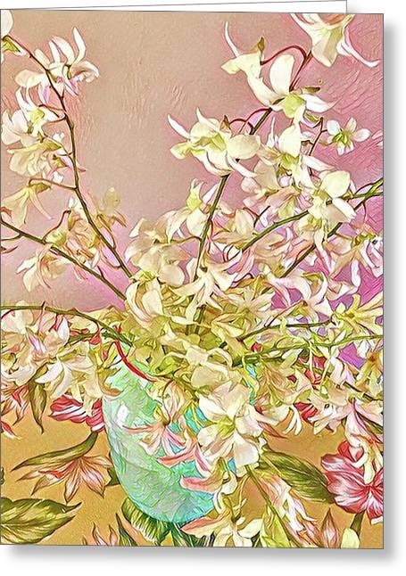 Aloha Bouquet Of The Day - White Orchids In Pink Greeting Card