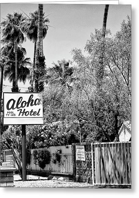 Aloha Hotel Bw Palm Springs Greeting Card by William Dey