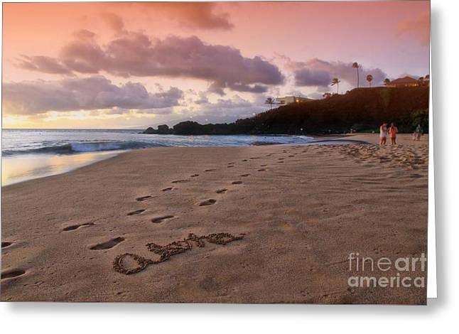 Aloha Kaanapali Beach Greeting Card by DJ Florek