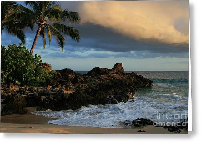 Aloha Naau Sunset Paako Beach Honuaula Makena Maui Hawaii Greeting Card