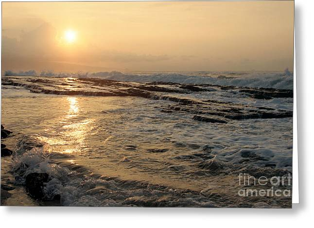 Aloha Oe Sunset Hookipa Beach Maui North Shore Hawaii Greeting Card by Sharon Mau