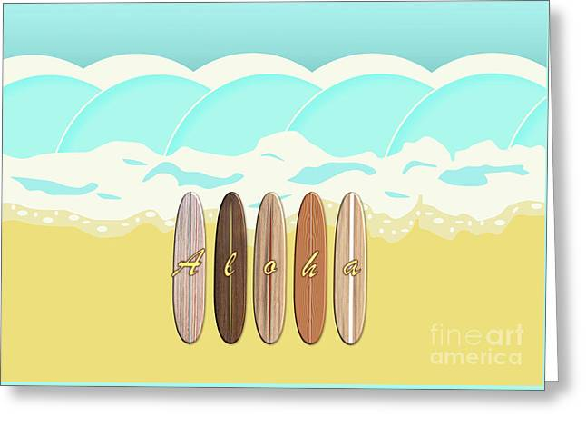 Aloha Surf Wave Beach Greeting Card