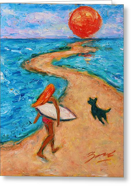 Greeting Card featuring the painting Aloha Surfer by Xueling Zou