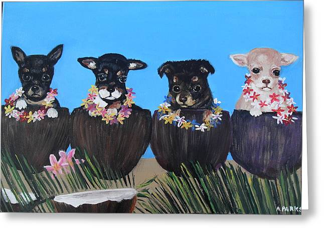 Aloha Teacup Chihuahuas Greeting Card