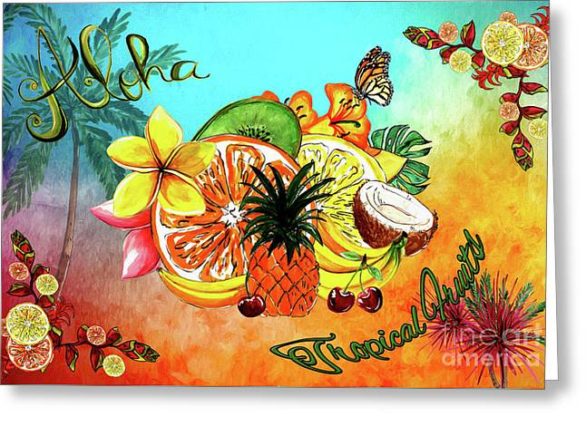 Greeting Card featuring the digital art Aloha Tropical Fruits By Kaye Menner by Kaye Menner