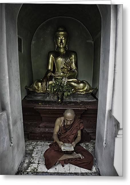 Alone At Shwedagon Greeting Card by David Longstreath