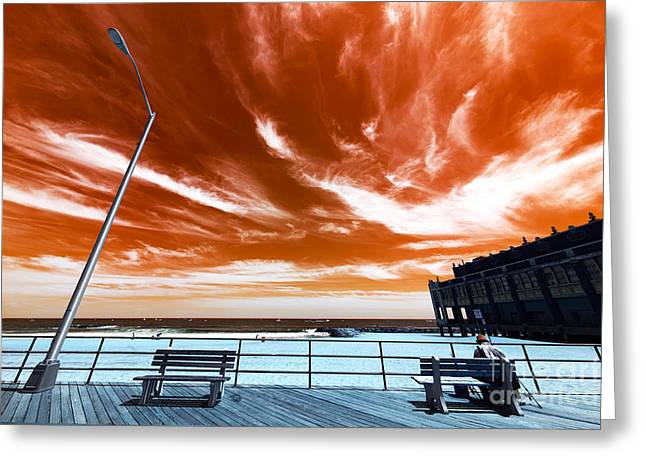 Alone In Asbury Park Pop Art Greeting Card by John Rizzuto