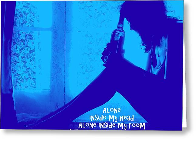 Alone In Blue Greeting Card