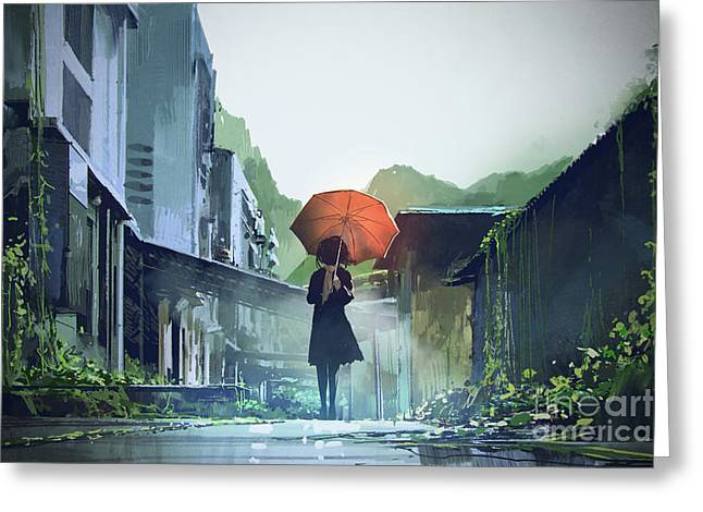 Greeting Card featuring the painting Alone In The Abandoned Town by Tithi Luadthong