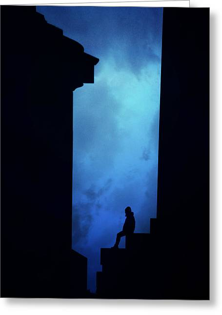 Alone In The City- Edinburgh Greeting Card by Cambion Art