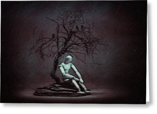 Alone In The Dark Greeting Card by Tom Mc Nemar