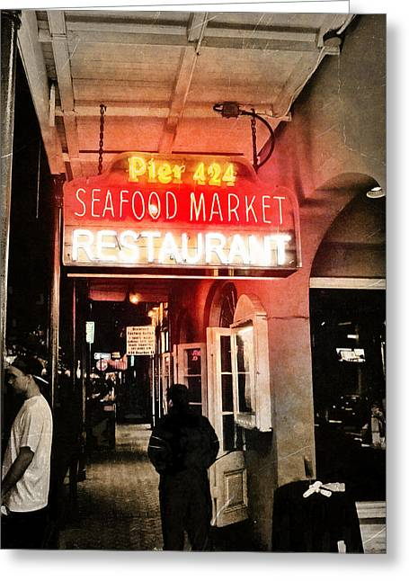 Along Bourbon Street - New Orleans Greeting Card by Glenn McCarthy Art and Photography