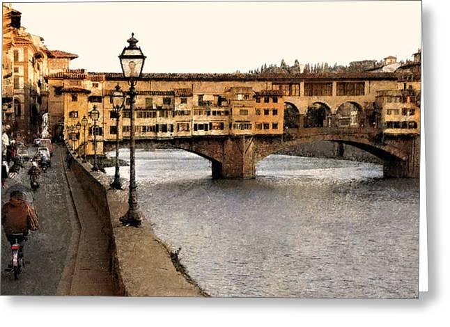 Along The Arno Greeting Card by Joe Bonita