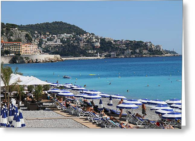 Along The Beach In Nice Looking Over Toward Monaco Greeting Card by Rod Jellison