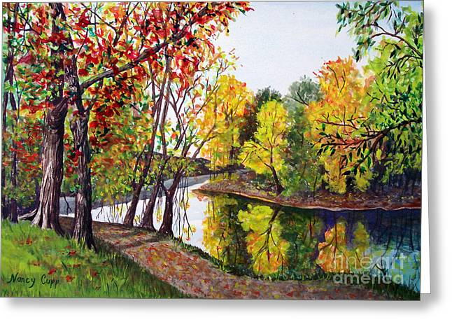 Greeting Card featuring the painting Along The Blanchard by Nancy Cupp