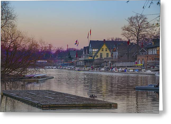 Along The Boathouse Row Greeting Card by Bill Cannon