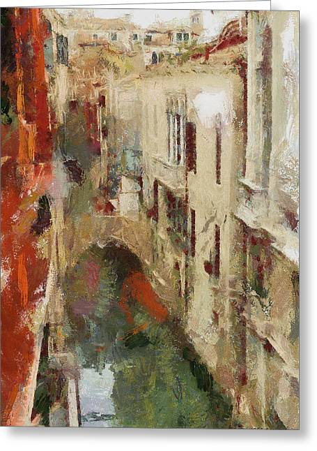 Along The Canal Greeting Card by Greg Collins