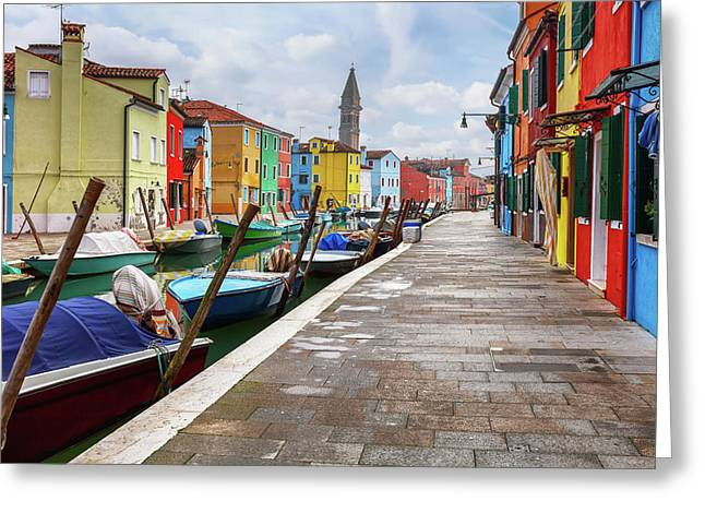 Along The Canal In Burano Island Greeting Card by Evgeni Dinev