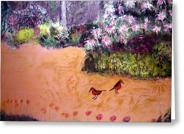 Along The Garden Path Greeting Card by Michela Akers