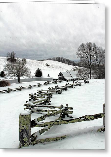 Along The Locust Rails In Winter Greeting Card