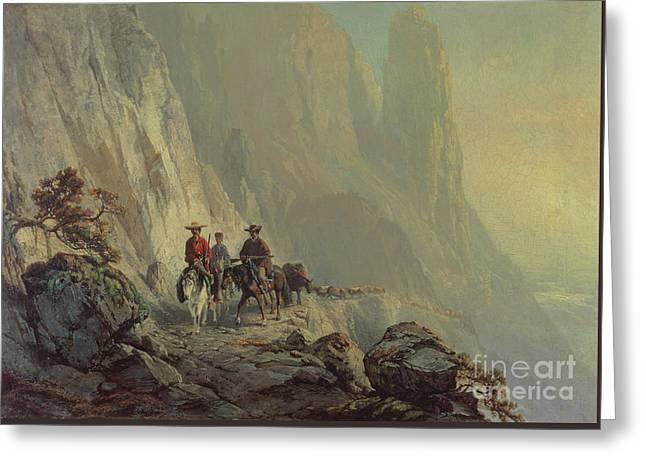 Along The Mountain Edge Greeting Card