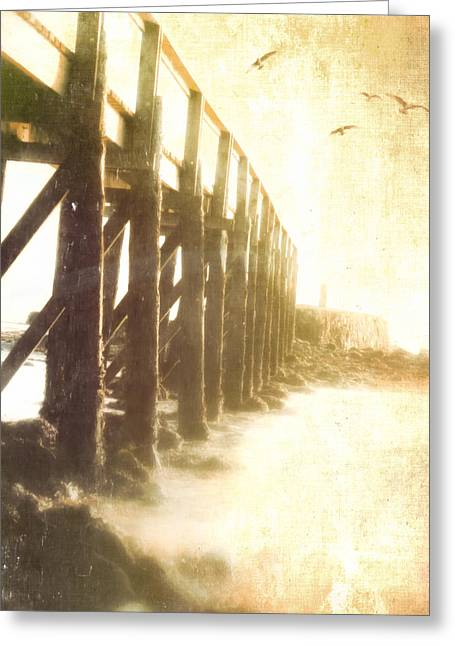 Along The Pier Greeting Card by Hal Halli