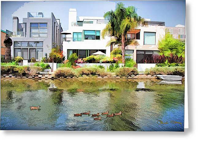 Greeting Card featuring the photograph Along The Venice Canals by Chuck Staley