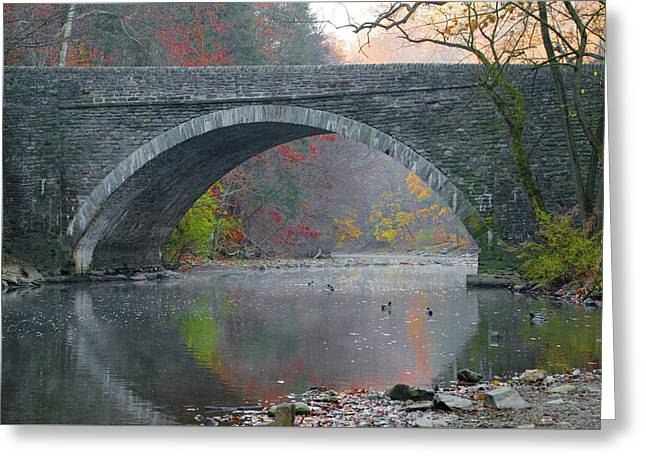 Along The Wissahickon In Autumn Greeting Card by Bill Cannon