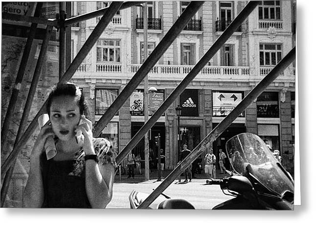 Alo?  #girl #woman #portrait Greeting Card