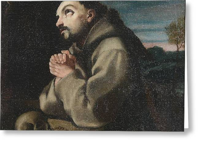 Alonso Cano Saint Francis In The Wilderness Praying To A Crucifix Greeting Card