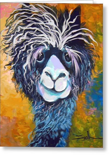 Alpaca Punked Greeting Card by Patty Sjolin